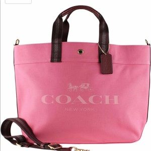 Coach X-Large Canvas Tote Bag Pink Ruby Beach $350